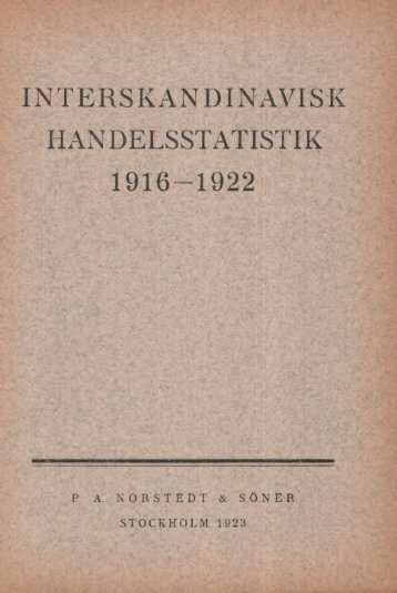 Interskandinavisk Handelsstatistikk 1916-1922