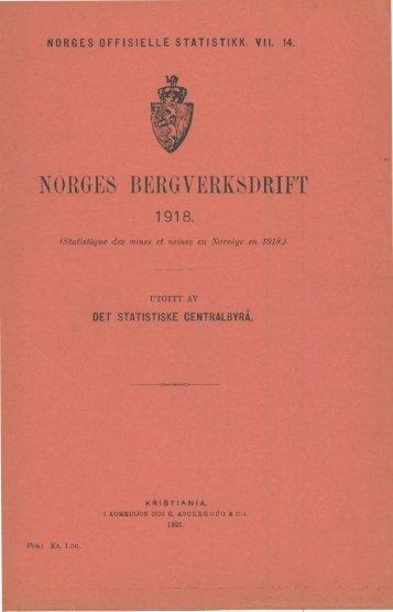 Norges bergverksdrift 1918