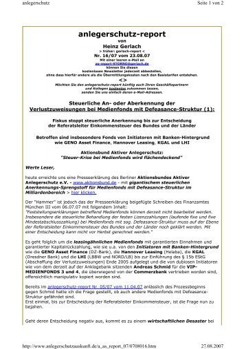 anlegerschutz-report - Ssma.de