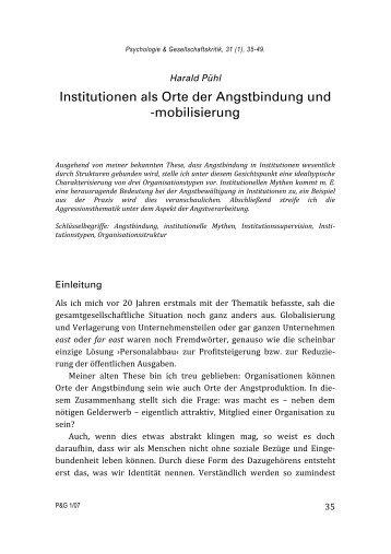 Institutionen als Orte der Angstbindung und -mobilisierung - SSOAR