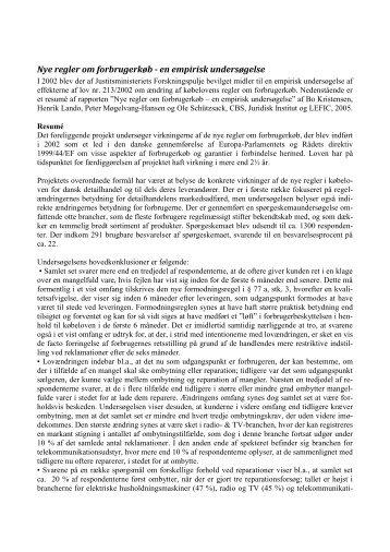 Nye regler om forbrugerkøb - en empirisk ... - Justitsministeriet