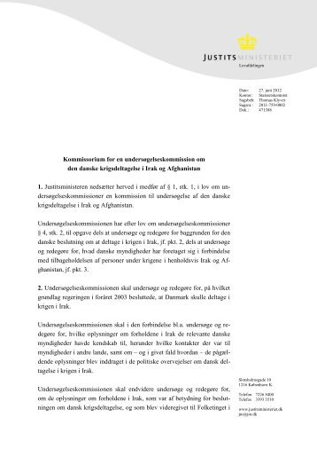 Kommissorium for en undersøgelseskommission ... - Justitsministeriet