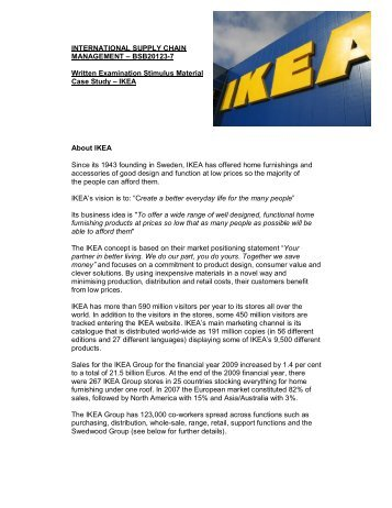 ikea s global sourcing challenge case Ikea address ethical and social responsibility challenges this case was prepared by max of particular concern to ikea involves the sourcing of wood and.