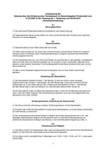 Lesefassung der Satzung über die Erhebung einer ... - Stadt Staßfurt