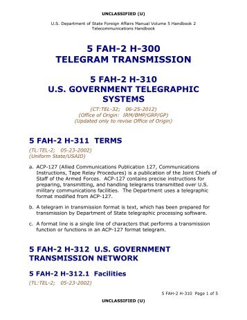 5 FAH-2 H-310 Telegram Transmission - US Department of State
