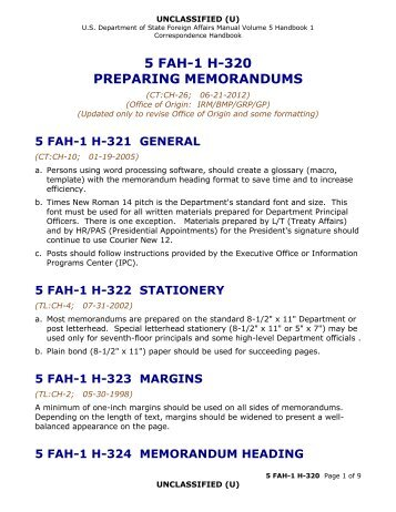 5 fah-1 h-320, preparing memorandums - US Department of State