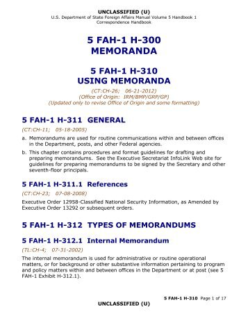 5 FAH-1 H-310, USING MEMORANDA - US Department of State