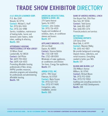 2012 Trade Show Directory - State of New Jersey
