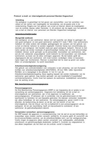 Protocol e-mail- en internetgebruik personeel Stenden Hogeschool ...
