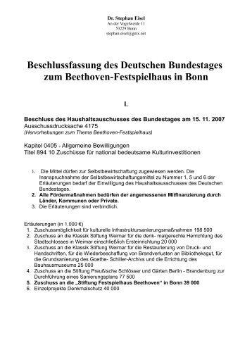 15.11.2007 Haushaltsausschuss Bundestag pro ... - Stephan Eisel