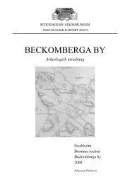 Beckomberga by : arkeologisk utredning : Stockholm, Bromma ...