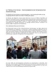 Le Tableau de la Suisse - Schweizerische Studienstiftung
