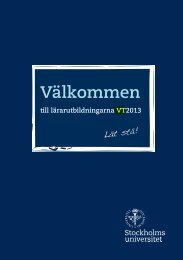 Välkommen till lärarutbildningarna 2013 - Stockholms universitet