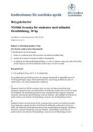 Betygskriterier NS1066 Svenska för studenter med utländsk ...