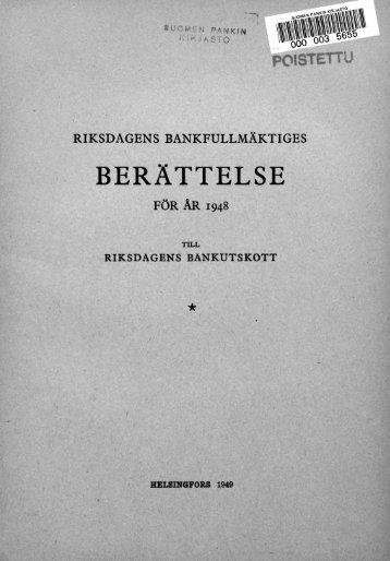 BERÄTTELSE - Suomen Pankki