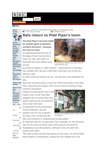 Rats return to Pied Piper's town - Dewezet