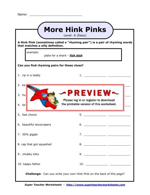 picture relating to Hink Pinks Printable identified as Even further Hink Pinks - Tremendous Instructor Worksheets