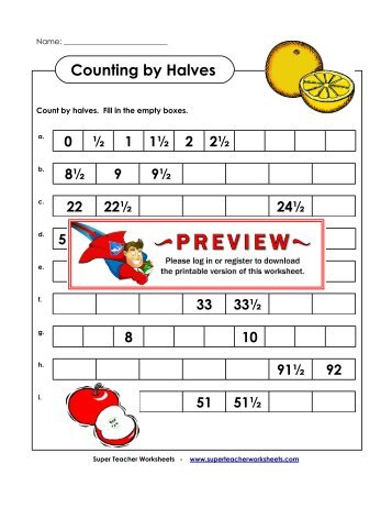 Counting by Halves - Super Teacher Worksheets