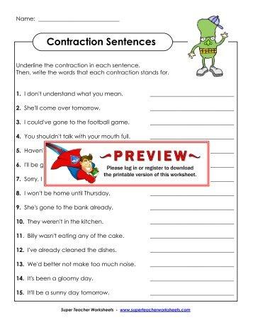 Types of sentences super teacher worksheets