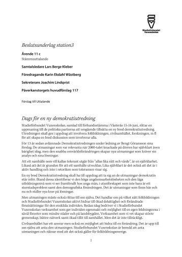 Uttalande Station 3 beslutsunderlag - Studieförbundet vuxenskolan