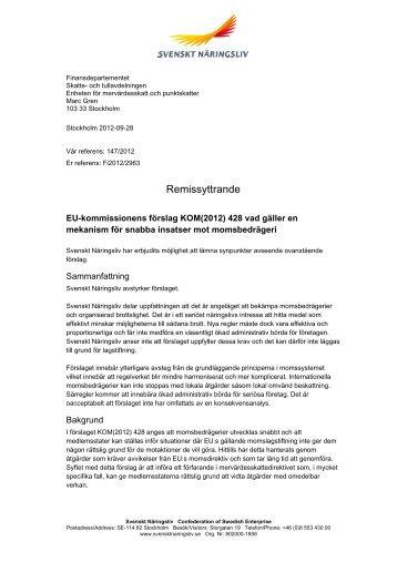 Remissvar 2012-147 - Svenskt Näringsliv