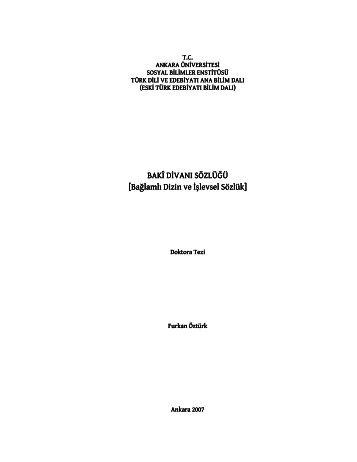 Bağlamlı Dizin ve şlevsel Sözlük - Turuz.info