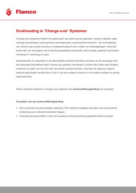 Whitepaper - Drukhouding in 'change-over' systemen - Flamco