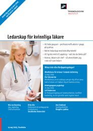 Ledarskap för kvinnliga läkare - Teknologisk Institut