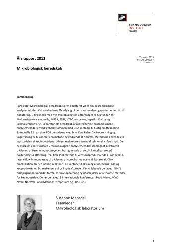 Årsrapport 2012 Mikrobiologisk beredskab Susanne Mansdal ...