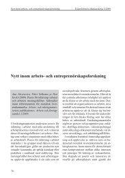 Nytt inom arbets- och entreprenörskapsforskning