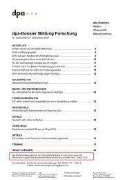 dpa-Dossier Bildung Forschung