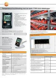 Productbrochure temperatuur datalogger testo 174T - TestoSites