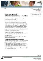 MUNDHYGIEJNE efter transplantation i munden - Aarhus ...