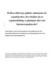 Hvilken effekt har palliativ uddannelse for sygeplejersker, der ...