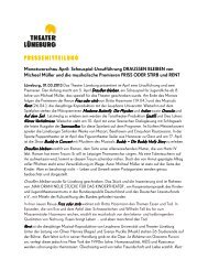Monatsvorschau April - Theater Lüneburg