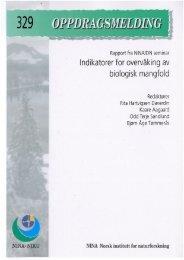 Indikatorer for overvåking av biologisk mangfold - NINA