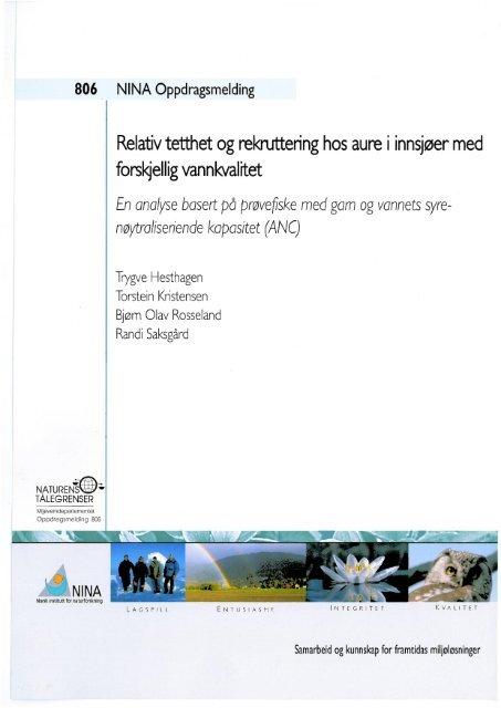 Relativ tetthet og rekruttering hos aure i innsjøer med ... - NINA