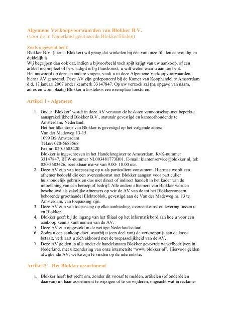 Algemene Verkoopvoorwaarden van Blokker B.V. (voor de in ...