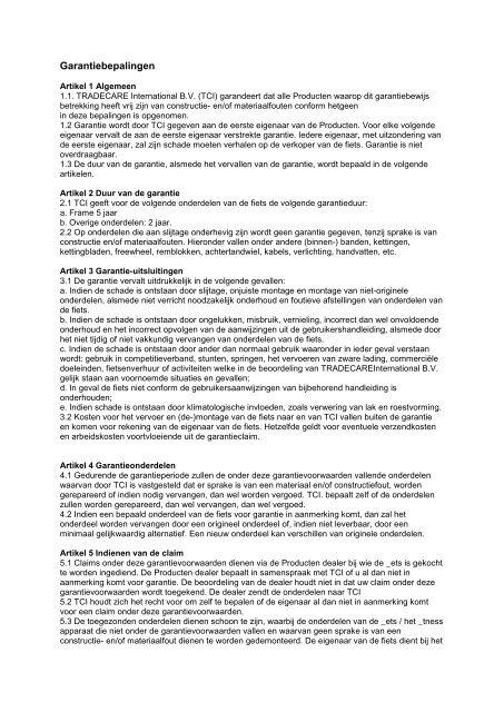 Garantiebepalingen - Blokker