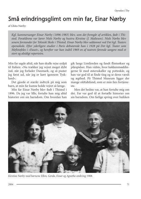 Små erindringsglimt om min far, Einar Nørby - Thisted Museum