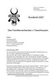 Rundbrief 2007 Des Familienverbandes v.Tiesenhausen