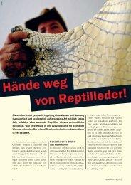 Hände weg von Reptilleder - Schweizer Tierschutz STS