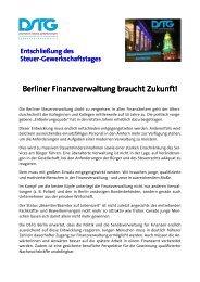 Berliner Finanzverwaltung braucht Zukunft! - Dstg-Berlin