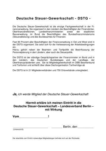 Ja, ich werde Mitglied der Deutsche Steuer ... - Dstg-Berlin