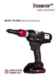 POP ® PB2500 Akku-Blindnietwerkzeug - Titgemeyer