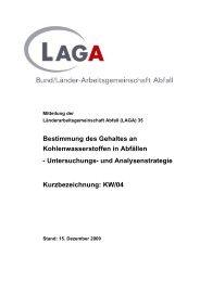 Bestimmung des Gehaltes an Kohlenwasserstoffen in Abfällen - LAGA