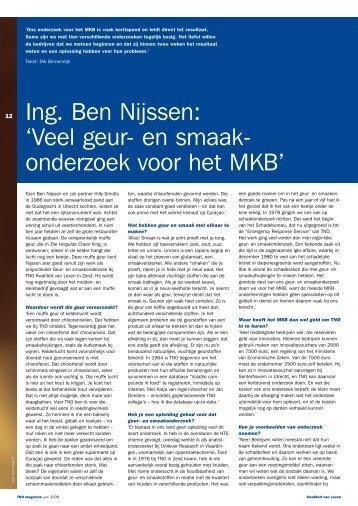 Ing. Ben Nijssen: 'Veel geur- en smaakonderzoek voor het MKB' - TNO