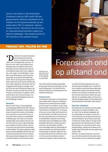 Forensisch onderzoek op afstand ondersteund: Project NFI ... - TNO