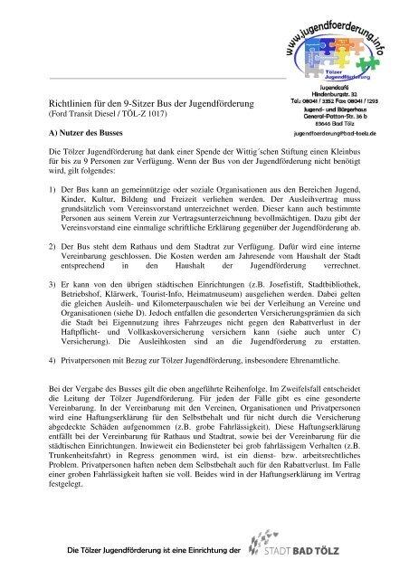 Richtlinien Für Den Bus Neuer Briefkopf Jugendförderung Bad Tölz