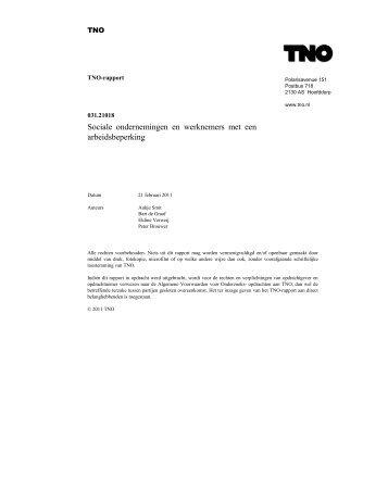 Sociale ondernemingen en werknemers met een ... - TNO